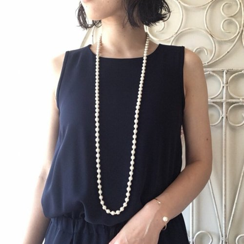 Cotton pearl long necklace