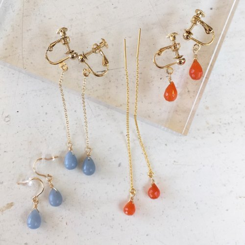 Drop stone long earring