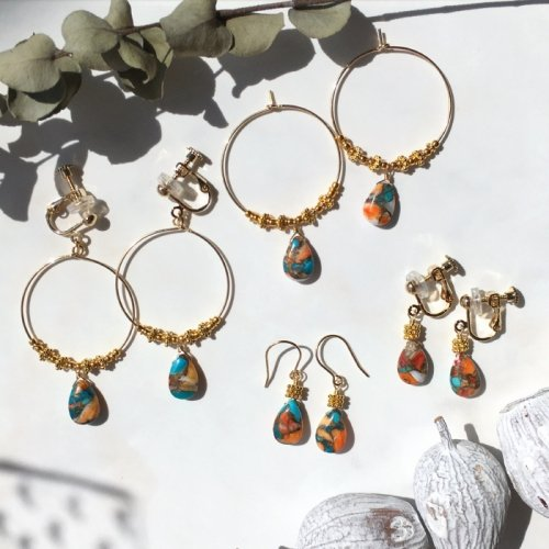 Oyster Copper Turquoise hoop pierce