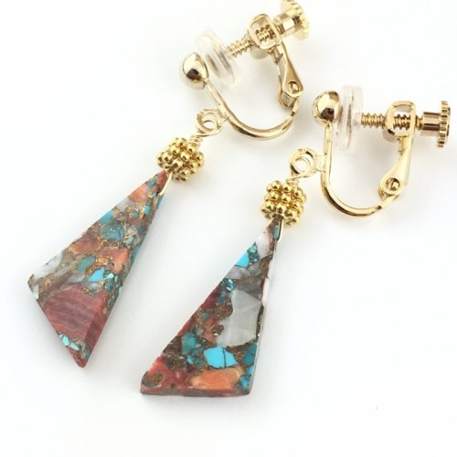 Oyster Copper Turquoise triangle earring