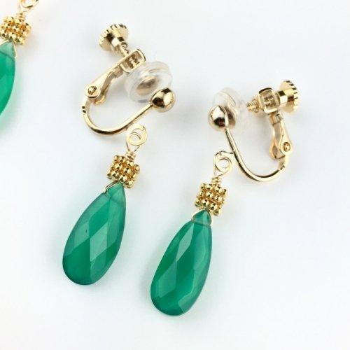 Green onyx earring
