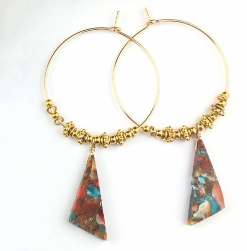 Oyster Copper Turquoise triangle Hoop pierce