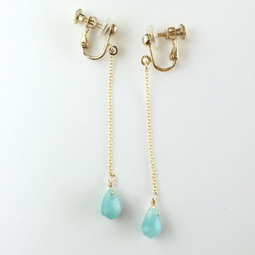 Amazonite long earring