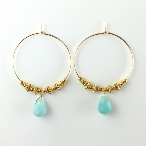 Amazonite hoop pierce