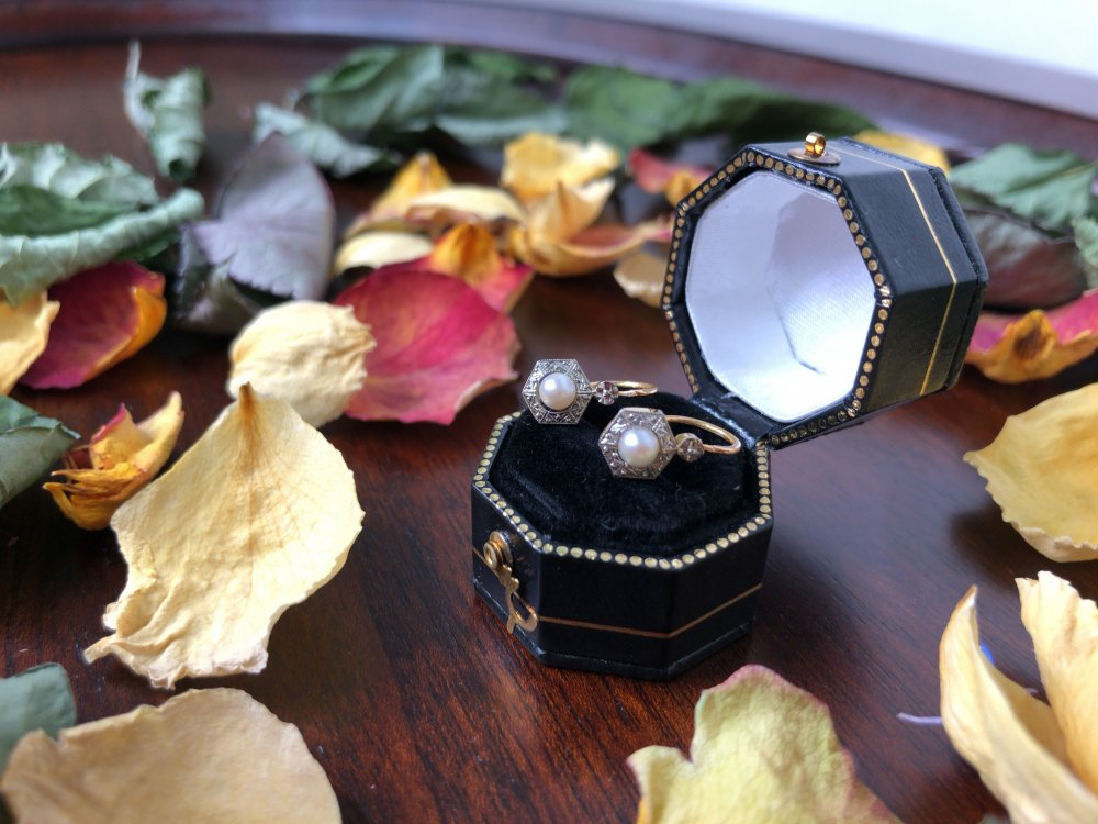 Victorian earrings  platinum 18k pearl  【France】