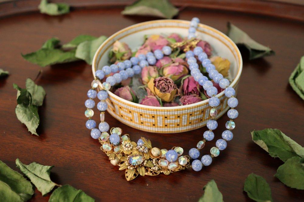 Peking glass Necklace    pekingglass goldmetal rhinestone