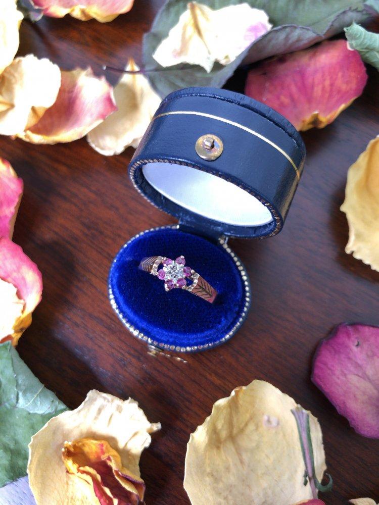 1922's  Ring      Garnet×Diamond×9KYG  【UK】