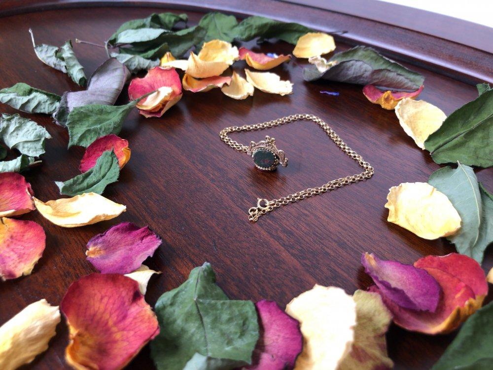 Victorian  swivel charm necklace 9KYG / blood stone / onyx / agate 【UK】