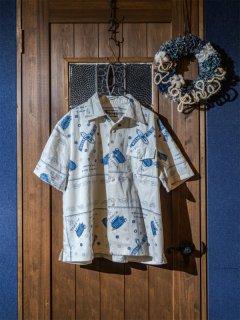 オープンカラーシャツS/S バンダナ柄 ホワイト(3L〜6L)