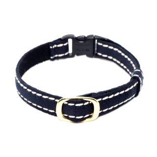 スエード調 サイドステッチの猫首輪 ミッドナイトブルー(濃紺)