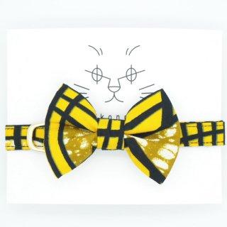 アフリカンバティックの猫首輪  イエロービジュー ※リボンの取外し可能