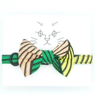 アフリカンバティックの猫首輪  バンブーフォレスト ※リボンの取外し可能