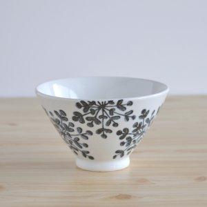 雪の花 飯碗 (黒)