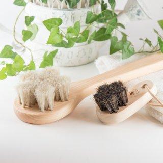 白馬毛のボディブラシ「さくら」ロング&フットブラシセット