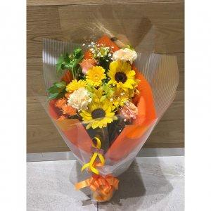 【生花  花束】人気サイズ♡華やかな花束|オレンジイエロー