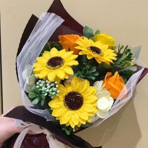 【ソープフラワ:emi】ひまわりブーケ|オレンジ