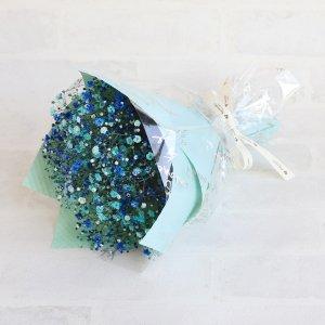 【生花 花束】キラキラMilky Wayブーケ (ブルー)