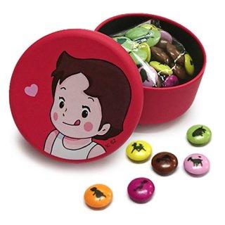 缶入り プリント入りチョコレート(ハイジぺろり柄)レッド