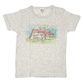 大人半袖Tシャツ アルムの山小屋柄 オートミール (フリーサイズ)