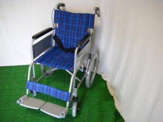 カワムラサイクル 介助式車椅子 KA16-38SB(青チェック) (WCK129-BC)