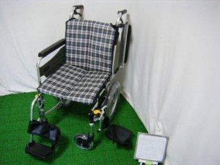 【中古車椅子】ミキ 介助式車椅子 SKT-2 (ホワイトベースチェック) (WCMI117-WC)