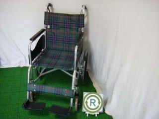 【中古車椅子】《Aランク品》松永製作所 介助式車椅子 AR-301(緑チェック)(WCMA102GR-A)