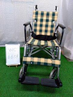 【中古車椅子】《Aランク》松永製作所 介助式車椅子 MW-18F(黄チェック)(WC-6659)