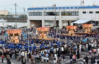海神社秋祭 4地区布団太鼓練り合わせ 垂水漁港前 平成28
