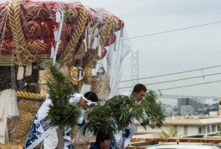 海神社秋祭 東高丸布団太鼓巡行 王居殿 明石海峡大橋 平成30年
