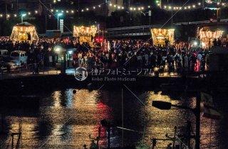 海神社秋祭 4地区布団太鼓夜練り合わせ 雨カバー外し 垂水漁港前 平成30年