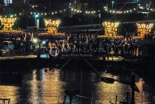 海神社秋祭 4地区布団太鼓夜練り合わせ 差し上げ 垂水漁港前 平成30年
