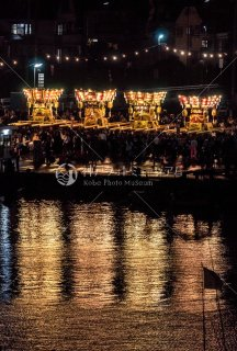 海神社秋祭 4地区布団太鼓夜練り合わせ 垂水漁港前 平成30年