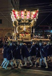 海神社秋祭 西垂水布団太鼓 差し上げ 海神社前 平成30年