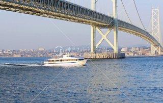 岩屋より西舞子望む 明石海峡大橋 まりーんふらわあ2