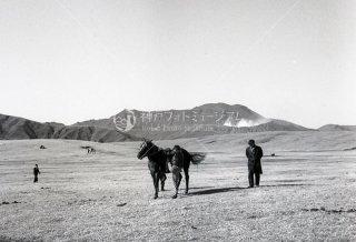 草千里ケ浜 馬 阿蘇山 昭和39 1964