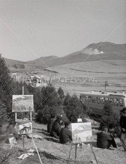 草千里ケ浜 阿蘇 絵画 昭和39 1964