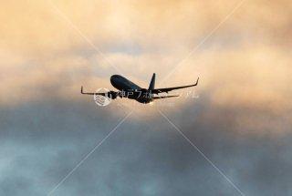 飛行機 夕景 須磨沖