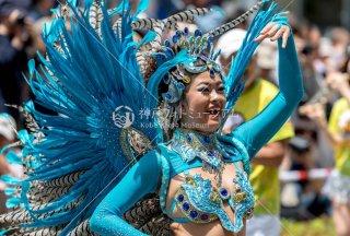 神戸まつり 青羽根の踊り子 バンダ・セルベージャ サンバストリート 令和元年