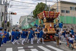 海神社秋祭 西垂水布団太鼓巡行 霞ヶ丘小学校交差点 令和元年