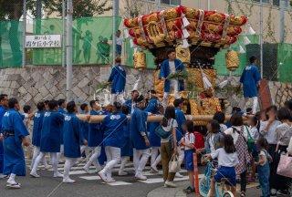 海神社秋祭 西垂水布団太鼓巡行 霞ヶ丘小学校前 令和元年