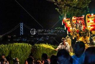 海神社秋祭 東高丸布団太鼓巡行 明石海峡大橋遠望 東垂水 令和元年