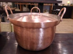 北村一男 鎚起銅器 段付銅鍋 6寸