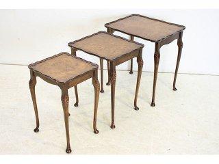 nt-8 1930年代 イギリス製 アンティーク ウォルナット クイーンアンスタイル ネストテーブル