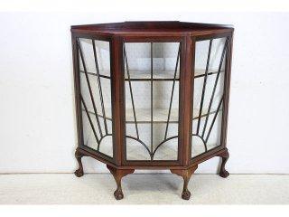 ce-100 1900年代 イギリス製 アンティーク マホガニー チッペンデールスタイル スモール ディスプレイ キャビネット