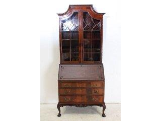 wd-4 1880年代 イギリス製 アンティーク ビクトリアン ウォルナット ビューローブックケース 本棚付き机 デスク