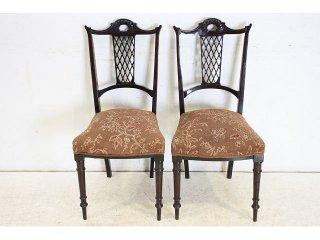 dn-19 1890年代 イギリス製 ビクトリアン マホガニー アンティークの椅子 2脚セット