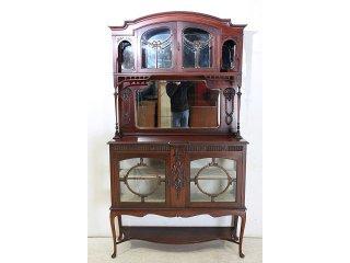 ce-68 1890年代 イギリス製 アンティーク ビクトリアン マホガニー ミラーバックキャビネット