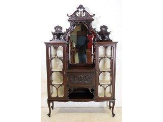 ce-72 1880年代 イギリス製 アンティーク ビクトリアン マホガニー ミラーバック エンパイヤキャビネット