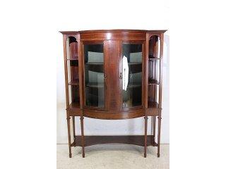 ce-86 1900年代 イギリス製 アンティーク サテンウッド エドワーディアン ディスプレイキャビネット