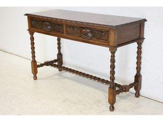 cl-1 1890年代 イギリス製 アンティーク ソリッドオーク ビクトリアン グリーンマン 引き出し付き コンソールテーブル